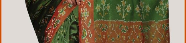 SPN450:Bottle Green and Orange Handloom Pochampally Ikat Pure Silk Saree with Blouse