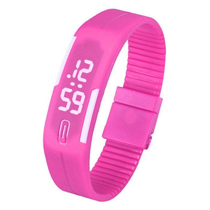 Unisex Lodestone PU Banda Pulseira LED relógio de pulso - Deep Pink + White