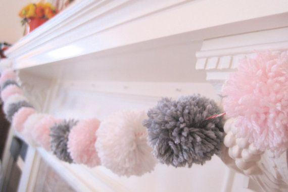 POM POM GARLAND- pink, white & grey pom poms - super cute yarn pom poms - sweet nursery decor or wedding or birthday party decor