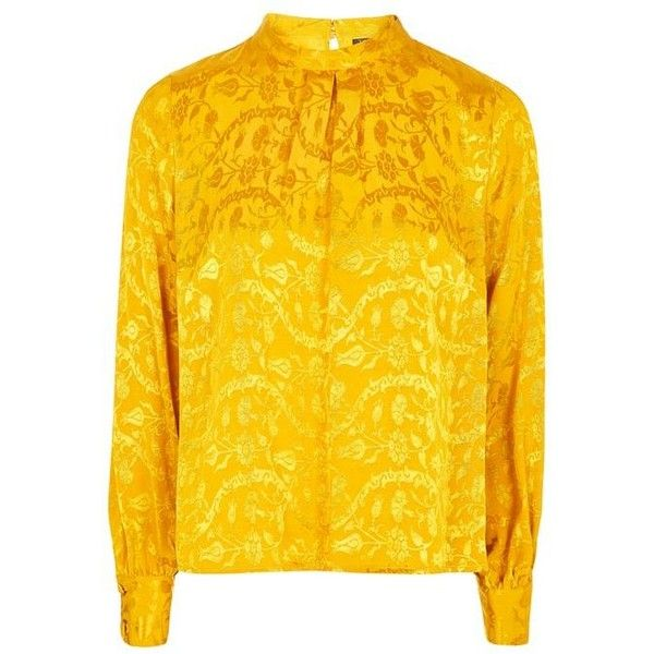 Topshop Jacquard Tuck Neck Blouse (£34) ❤ liked on Polyvore featuring tops, blouses, topshop tops, topshop blouses, yellow long sleeve top, mustard yellow blouse and yellow blouse