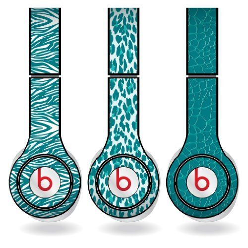 Teal Animal Print Set of 3 Headphone Skins for Beats Solo HD Headphones  Removable Vinyl Decal >>> You can find more details by visiting the image link.