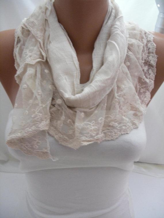 Women Cream Cotton Shawl Scarf  Headband  Cowl with Lace by DIDUCI, $19.00: Cream Shawl Scarfs, Headbands Cowls, Cotton Scarfs, Cream Cotton, Cotton Shawl, Scarfs Headbands, Scarf Headbands, Scarfs Shawl, Lace Scarfs