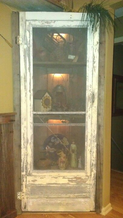 Corner Shelf With Old Screen Door Decorating