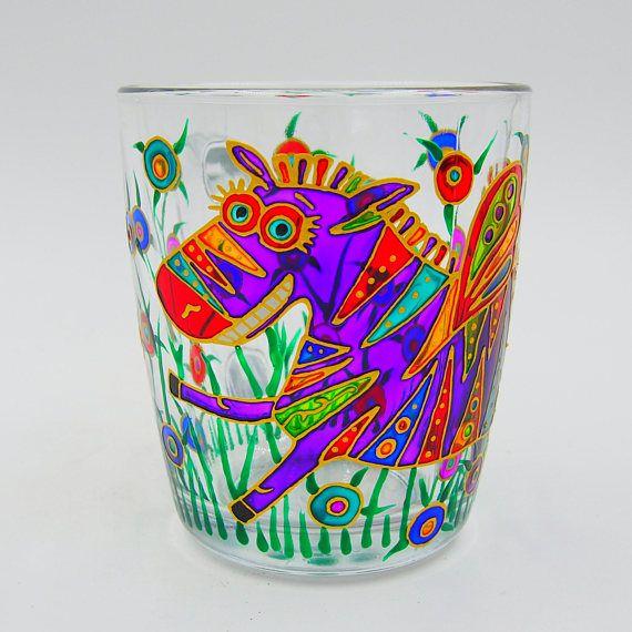 Purple Amusing Zebra Mug Hand Painted Gift Coffee Tea