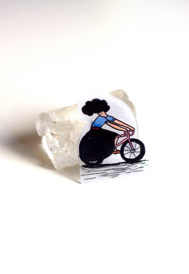 bisikletli kız broş - Broş 315269 | zet.com