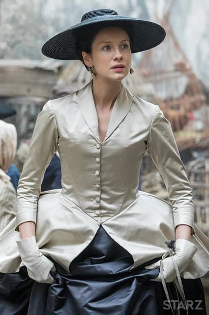 Outlander season 2 costumes. Love this black and white dress of Claire Fraser's. Looks like a cross between 17th C gown and Diors new look.