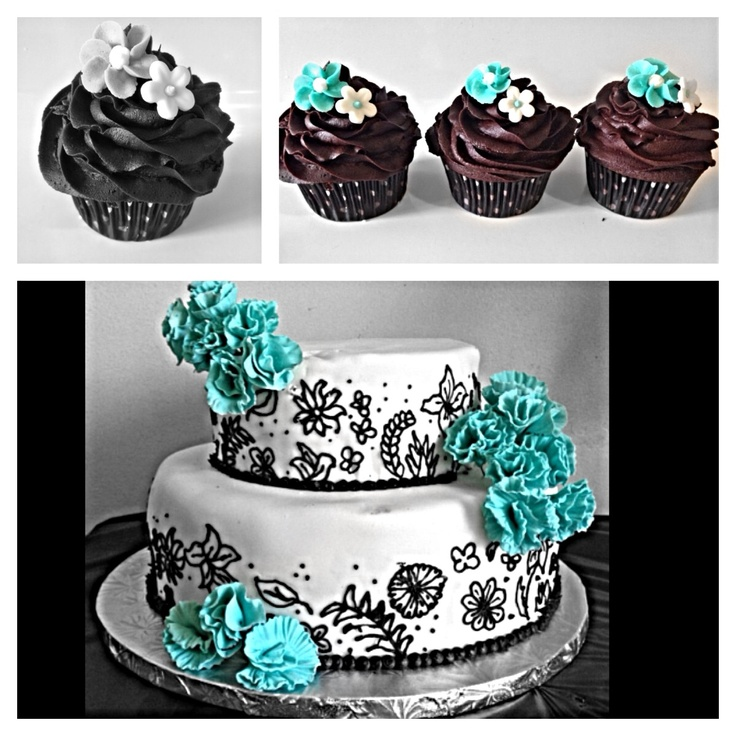 Blue/turquoise cake and cupcakes