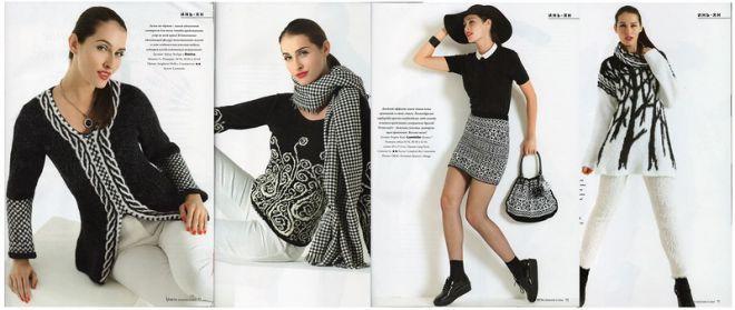 «Черно-белые узоры - несколько моделей из новой Верены» | Вязание спицами | Постила