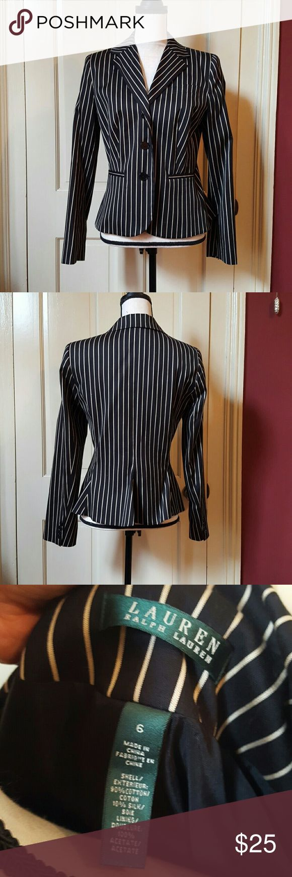 Black and white Lauren pin striped blazer Lauren by Ralph Lauren b & w pin striped blazer 6 Lauren Ralph Lauren Jackets & Coats Blazers