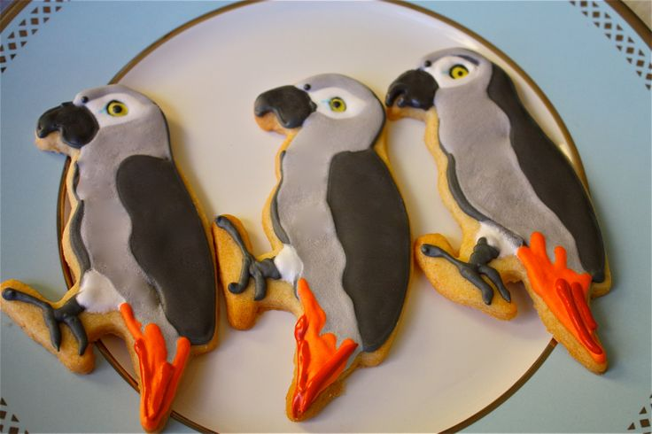African grey cookies!  Pin links to the cookie cutter :D