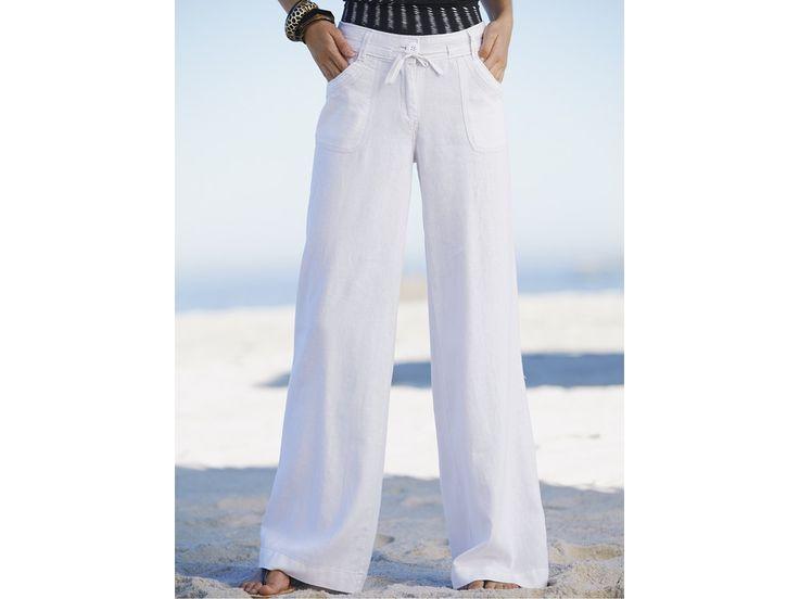 Светлые льняные брюки
