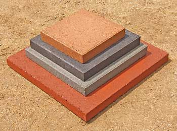 Smooth Top Patio Stones Come In Concrete Gray, Red, Tan, And Black.