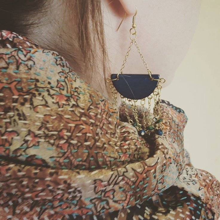 Recycled Silk Stitched Sari Scarf & Slow Rain Earrings - fair trade