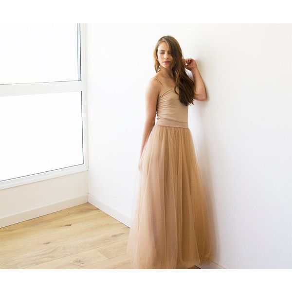 Tulle Maxi Gold-Brown Bridesmaids Skirt Maxi Tulle Brown Skirt ($96) ❤ liked on Polyvore