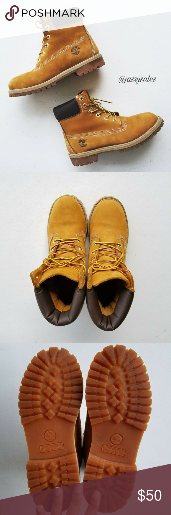 Classic Timberland Boots Women's Size 7 》 Size: The size is a 5.5 in youth,  however they will fit a 7 in womens! I am a 7.5 in womens and they are a perfect fit (no socks), so i would recommend buying for a size 7 WOMAN or a 5.5 YOUTH/BOYS.  》》 The condition is almost new! I've only worn these babies about 3 times,  but they're small on me now.  They need a new home.  (: Timberland Shoes Lace Up Boots