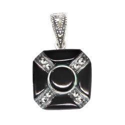 Marcasite Onyx Pendant