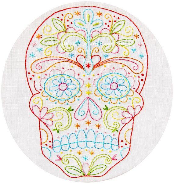 Embroidery Pattern Skull Calavera Dia de Los Muertos by polkadotandbloom on etsy.com