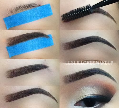 easy way to draw on your eyebrows, use masking tape, clean brows... Hmmmmm