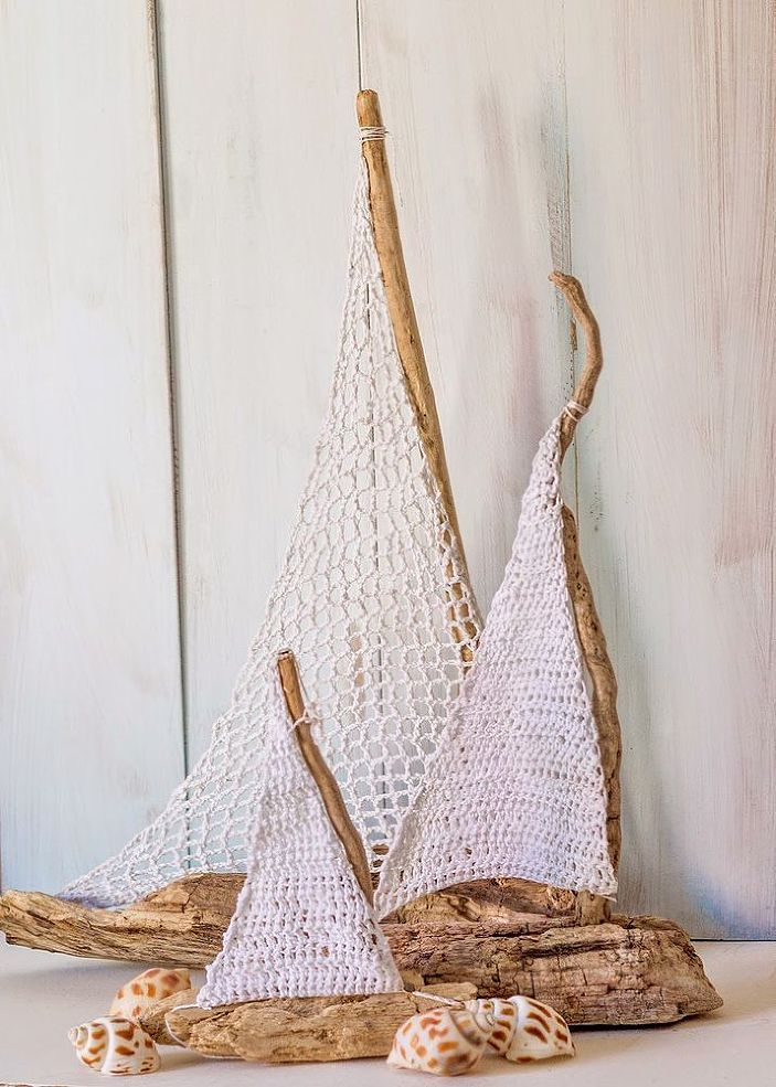 Driftwood and Crochet Sailboats Table Decor :: Hometalk