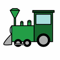 Cute and simple cartoon train made of basic shapes.