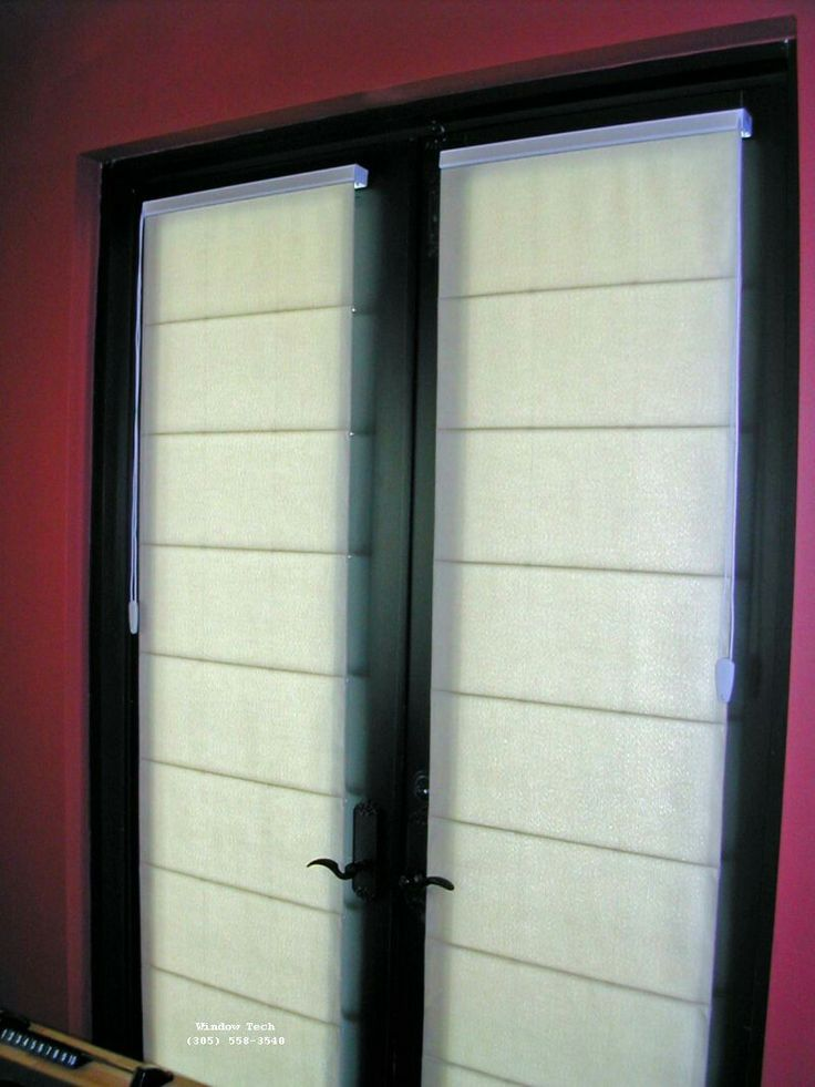 French Door Treatments :: Roman_Shades_on_French_doors