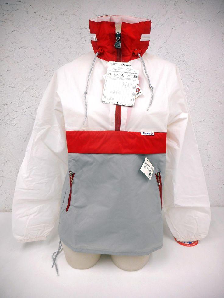 Vintage 1980s K-Way Kway Jacket Windbreaker, Zip Up Waterproof Raincoat, Size 5, Model 126, Grey Red White, New Old Stock NOS