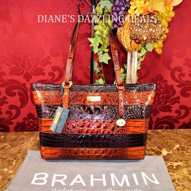 Brahmin NWT Med Arno Dark Cocoa Vineyard Croco Emb Leather Tote Purse GORGEOUS