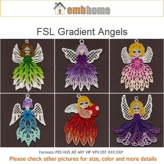 FSL Gradient Angels - Free Standing Lace Machine Embroidery Designs Instant Download 4x4 hoop 10 designs SHE1644