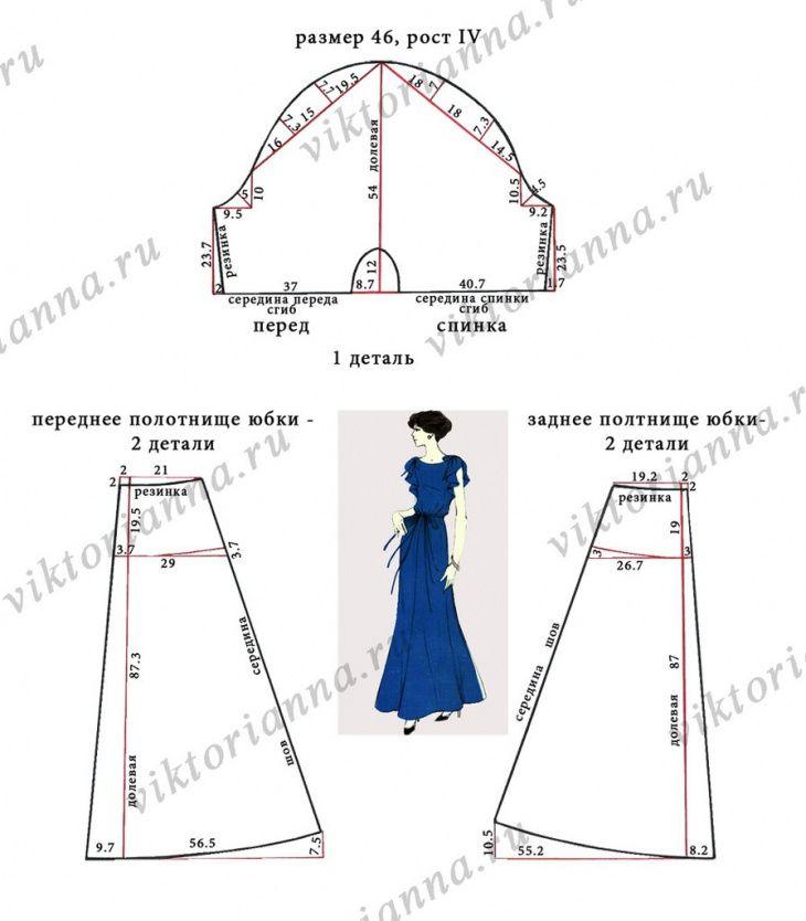 Выкройка платья очень простая