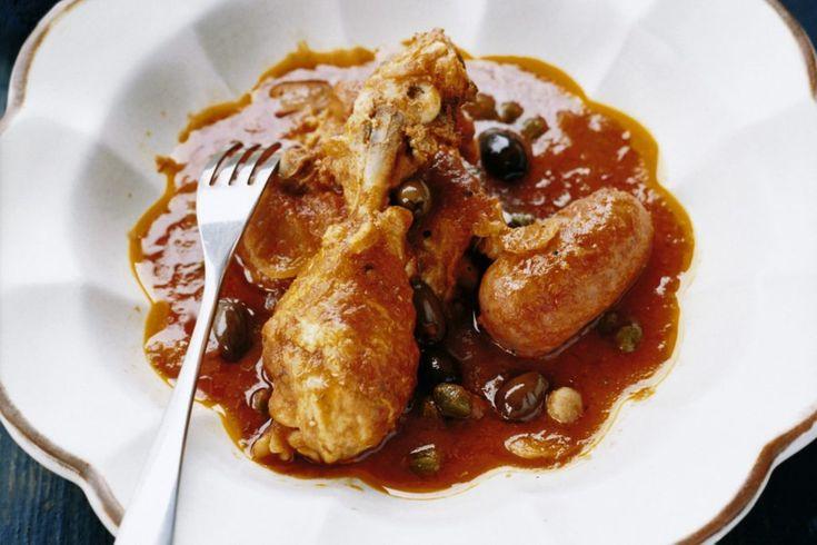 Kycklinggryta med salsiccia och oliver