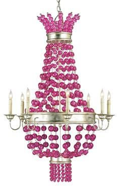 89 best pink lampschandeliers images on pinterest chandeliers pink raspberry chandelier with draped glass balls wrought iron frame and 8 lights aloadofball Image collections