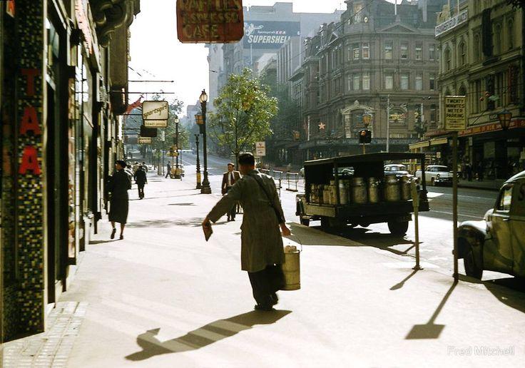 """Milkman, Collins Street, Melbourne"" Photo: Fred Mitchell Australia - Victoria, Melbourne, 1958"
