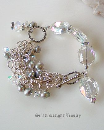 Dove Gray Pearl AB Clear Quartz & Swarovski Crystal & Sterling Silver Chain Bracelet   online upscale artisan handcrafted jewelry boutique   Schaef Designs Pearl Jewelry   San Diego, CA
