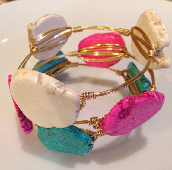 Chunky colored turquoise slab gold wire wrap bauble bangle bracelets PINK WHITE & TURQUOISE