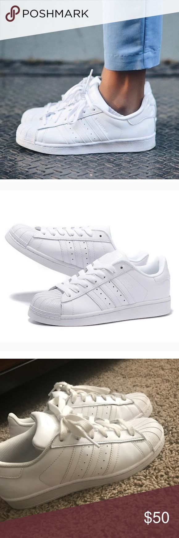 Adidas superstars All white Adidas superstar sneakers hardly worn adidas Shoes Sneakers