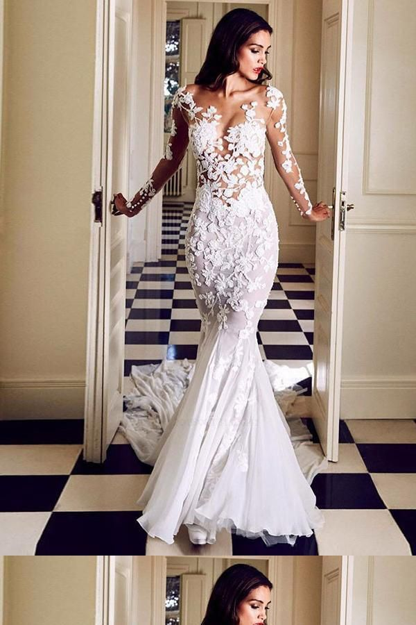 Hot Sale Fancy Wedding Dress Lace, Wedding Dress With Sleeves, Wedding Dress Mermaid