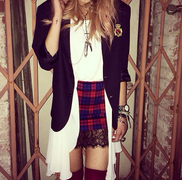 This cute outfit would be nothing with out the plaid pulling it all together!