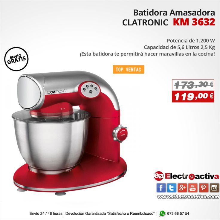¡Elabora de manera sencilla las mejores recetas! Batidora Amasadora CLATRONIC 3632 http://www.electroactiva.com/clatronic-batidora-amasadora-km-3632-roja-1200w-5-6-litros.html #Elmejorprecio #Batidora #Amasadora #Chollo #Electrodomestico #PymesUnidas