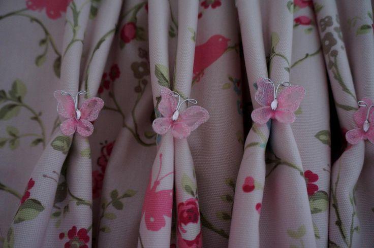Little butterflies added onto double pleats for girls room