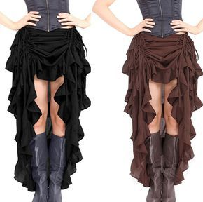 Women Victorian Gothic Hi Low Steampunk Skirt Ruffle Black Brown Costume Outfit
