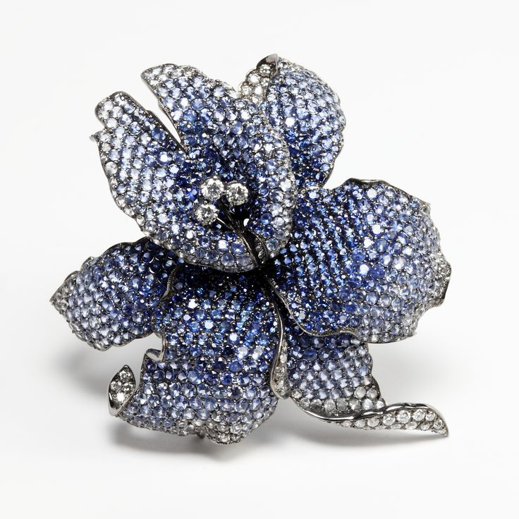 Sapphire Flower Brooch with diamonds by Rina Limor