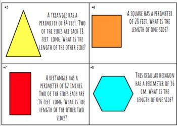 16 questions about perimeter. Each question gives the total perimeter of the shape and requires students to find the missing side(s). Shapes included are rectangle, triangle, rhombus, square, hexagon, octagon, parallelogram, and pentagon. The last page has the answer choices that students can match with each task card.