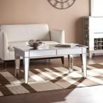 Ethel Silver Mirrored Coffee Table, Mirrored Finish With Metallic Silver Trim
