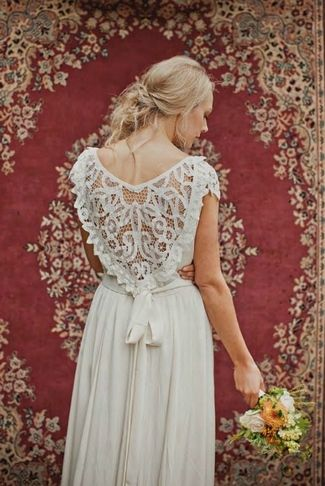 Lace Back and Keyhole Wedding Dresses 2013 | Confetti Daydreams.  romantic gown with a loosed bow that completes a heart-shaped lace back design.