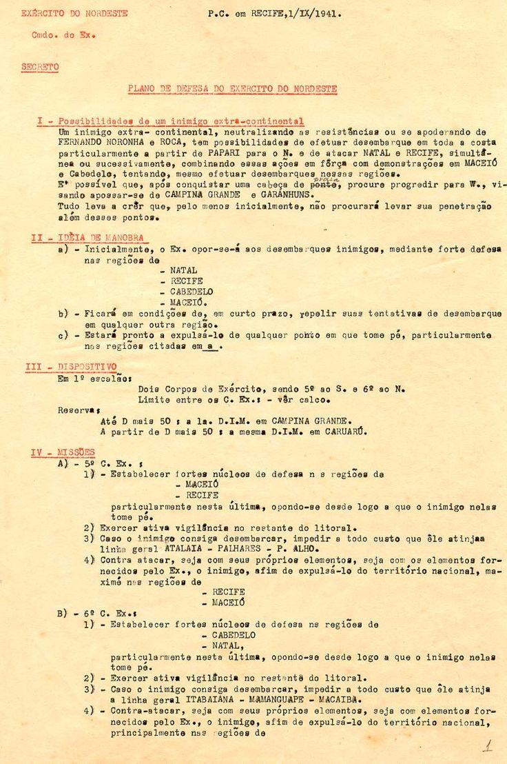 Trechos do plano de defesa da região nordeste, 1941. Recife (PE). (CPDOC/ UCi gm1941.09.01)