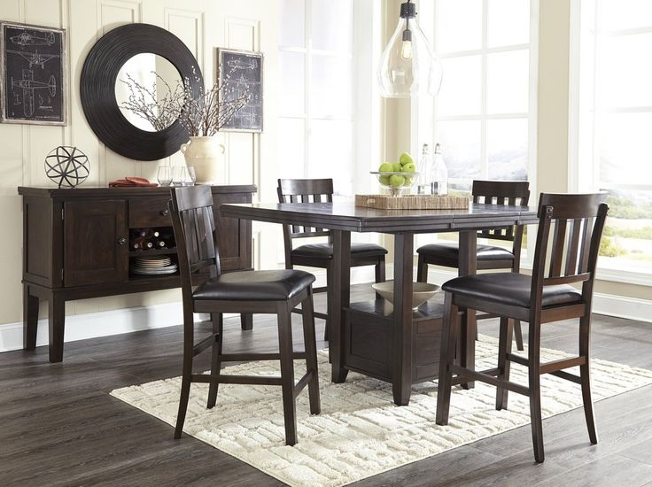 Handigan Casual Dark Brown Color Dining Room Set Rectangular Counter Table 4 Barstools And