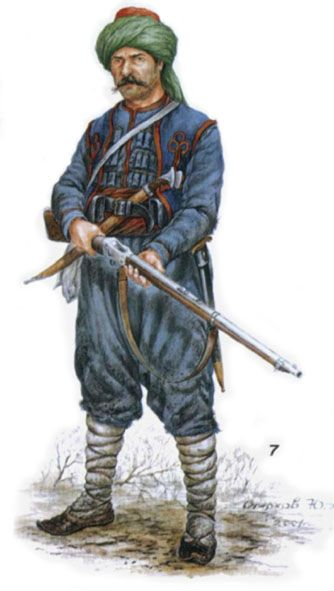 "Turkish Army. Russian-Turkish War of 1877-78. Line infantry soldier in the ""Zouave"" uniform"