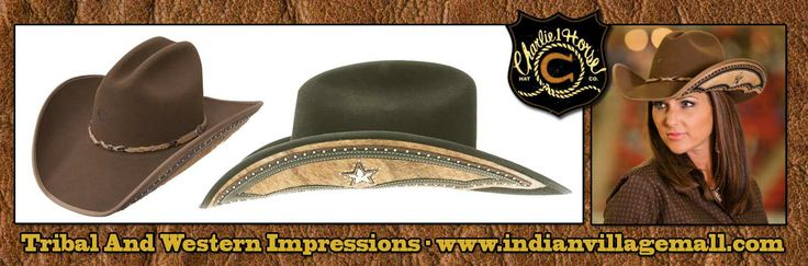 Rising Star Charlie 1 Horse Western Cowboy Hat  Mink felt sloped-crown hat with hair on calf skin cutouts sewn beneathe brim, embellished with a  star and nailheads, bound edge and matching band. For Both In Style Cowboys And Cowgirls. Made in the USA. - Review off of; http://www.indianvillagemall.com/hatcharliehorse.html