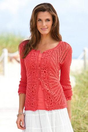 Chadwicks crochet cardigan in vermillion       ♪ ♪ ... #inspiration #crochet  #knit #diy GB