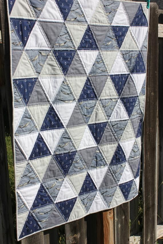Modern Boys Baby Quilt Nautical Baby Boys Quilt Blue Gray White Triangle Quilt Anchor Whale A Boy Quilts Nautical Baby Quilt Baby Boy Quilts